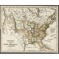 1842 - Carte des États-unis...
