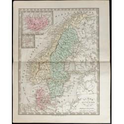 1845 - Carte de la Suède et...
