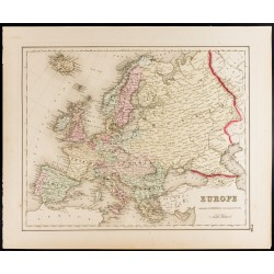 1857 - Carte ancienne d'Europe