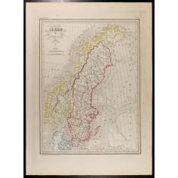 1846 - Carte de la Suède et...